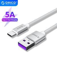 Orico-Cable USB tipo C 5A para teléfono móvil, USB-C de carga rápida para Samsung, Xiaomi, Huawei, 1M