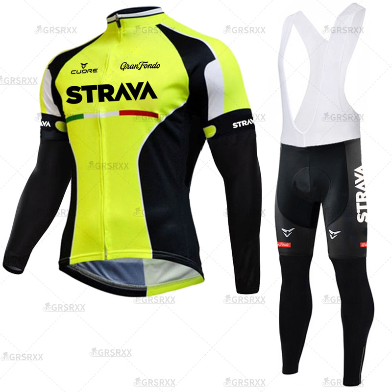 STRAVA Cycling Jersey Set 2021 Spring Pro Bicycle Team Long Sleeve Bicycle Clothes Premium MTB Mountain Bike Bib Sportswear Suit