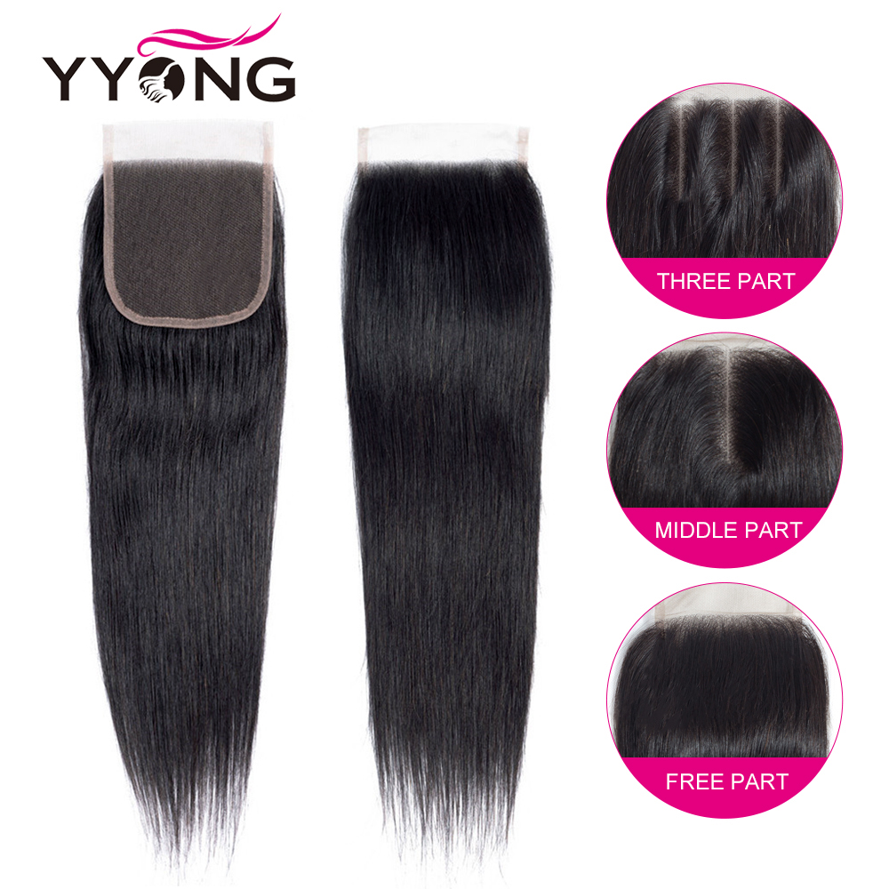 Yyong  Straight Hair 4/ 3 Bundles   With 4*4 Lace Closure Double Weft  Bundles With Closure 4