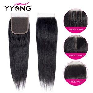 Image 4 - Yyong פרואני ישר שיער 3 חבילות רמי שיער טבעי הרחבות עם 4*4 תחרה סגירת כפול ערב לארוג חבילות עם סגירה