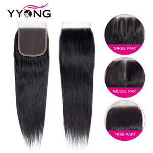 Image 4 - Yyong Peruaanse Steil Haar 3 Bundels Remy Human Hair Extensions Met 4*4 Vetersluiting Dubbele Inslag Weave Bundels met Sluiting