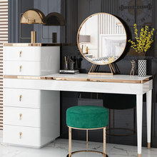 Mirror Furniture Dresser Makeup-Table Bedroom White Stool Light Luxury for Gold-Plated