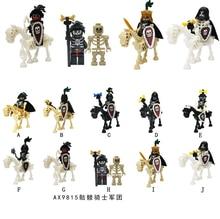 Medieval Knights Crusaders Rome Soldier Spartacus warrior Gladiatus Skeleton Horse Shield Figures Castle Building Blocks Toys(China)