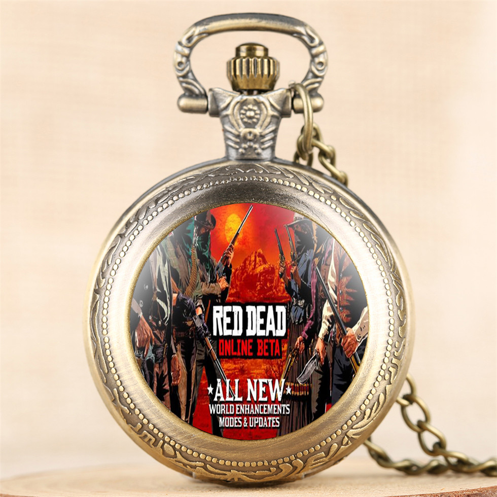 Red Dead Theme Bronze Pocket Watches For Gamer Cool Glass Dome Fob Watch For Boy Best Birthday Gift For Men Drop Shipping