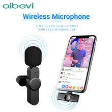 Aibevi Wireless Microphone 2.4GHz Mini Lavalier Mic Noise reduction Interview Mic for iOS for Type-C Smartphone Recording