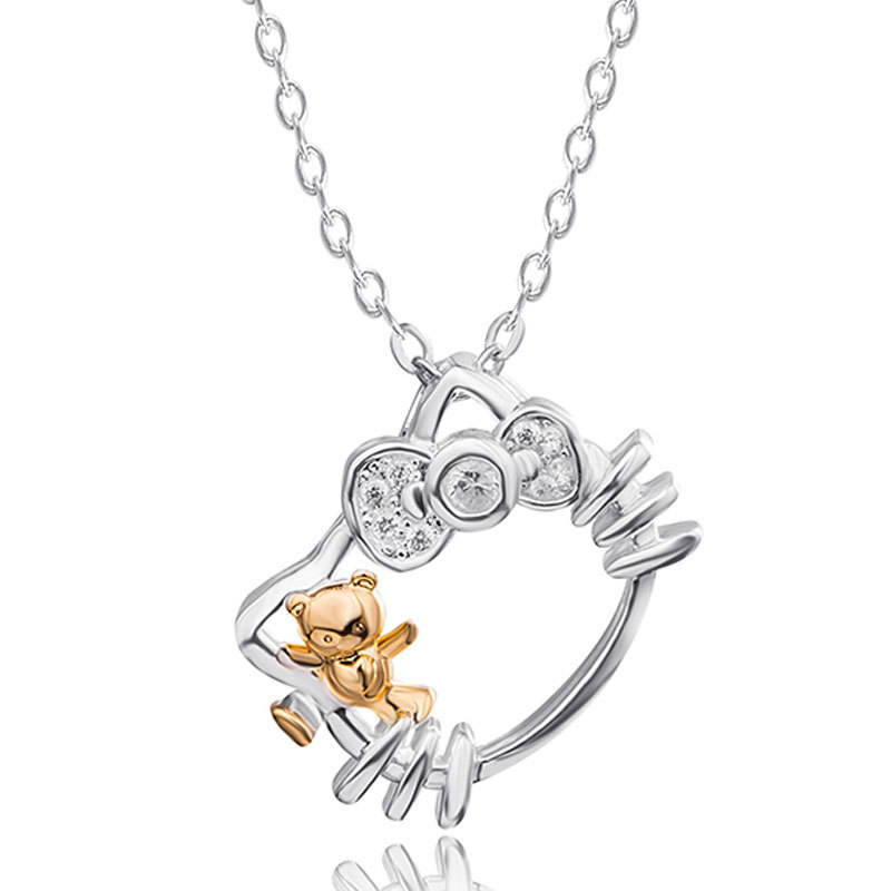 KT Necklace Female Silver-plated Cute Kitty Crystal Anime Clavicle Chain Children Pendant Valentine's Day Gifts on February 14