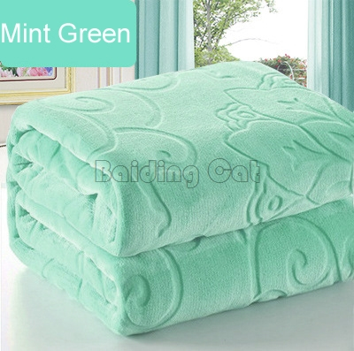 New Mint Green Flannel Blanket Winter Warm Soft Thick Big Coral Fleece Bedspread Multi Size As Bed Sheet Luxury Floral Blankets(China)