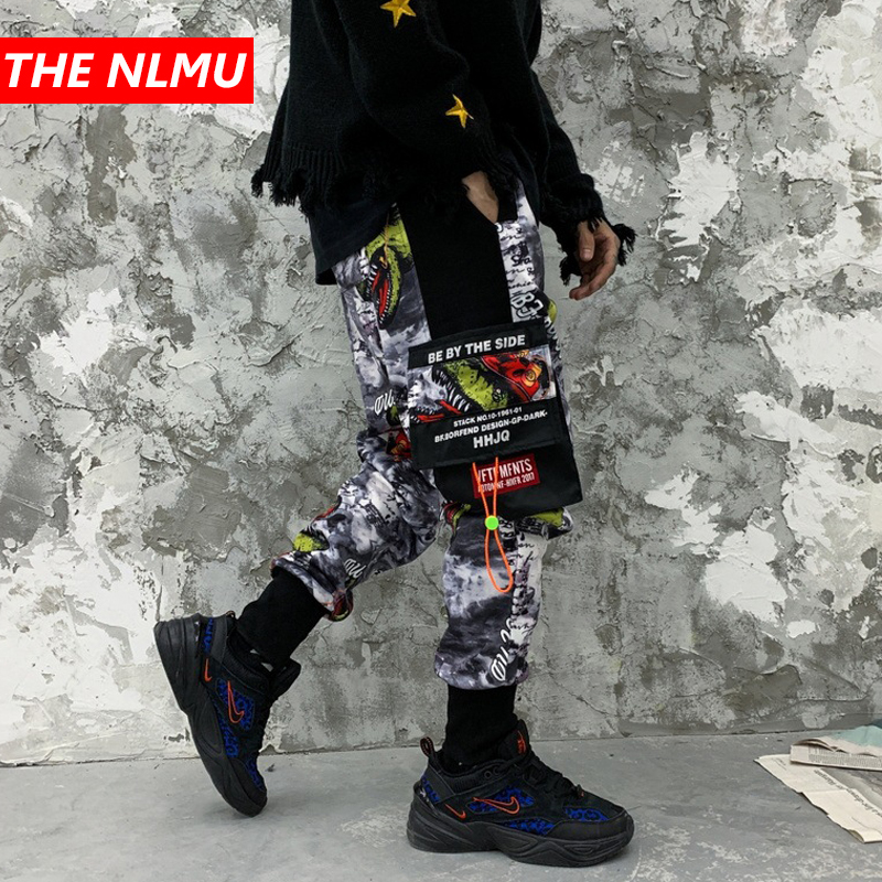 Hip Hop Streetwear Joggers Sweatpants Men 2019 Winter Fleece Harem Pants Male Fashion Printed Cotton Pocket Dancing Jogger WG671