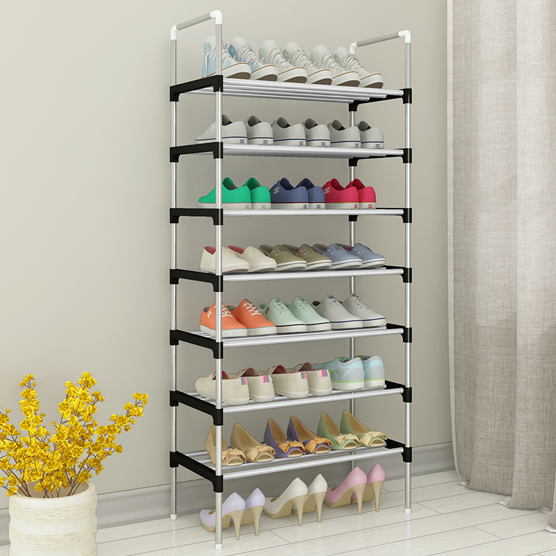 Storage Shoes Shelf Easy To Assemble Metal Shoe Rack Boots Sneakers Stand Portable Space-saving Shoe Organizer With Handrail