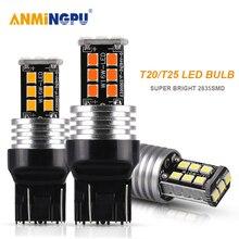цена на ANMINGPU 2x Signal Lamp 7443 T20 7440 W21W Led W21/5W 2835SMD T25 3157 3156 Led P27/7W P27W Led Lamp Reverse Turn Signal Light