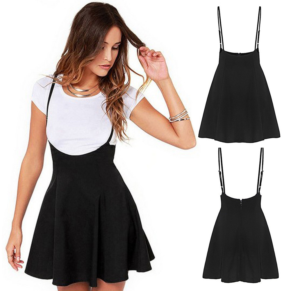 Summer Solid Soft Mini Women Skirt Casual Skater Adjustable Strap Strappy Pleated Backless Zipper Fashion Suspender High Waist