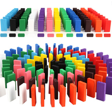 Domino Blocks Kids Toys Colored Dominoes Educational Toys Wooden Domino Set Toys For Children Gift Sale Drop Ship 120 dominoes in 12 colors contains a set of 10 domino accessories kids wooden domino building blocks toys classic montessori toy
