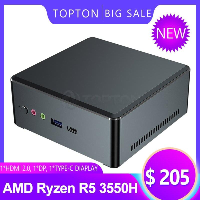 En çok satan Mini Pc AMD Ryzen R5 3550H R7 2700U Vega 10 grafik 2 * DDR4 ev ofis oyun PC Win 10 HDMI 2.0 DP TYPE-C 3 * ekran