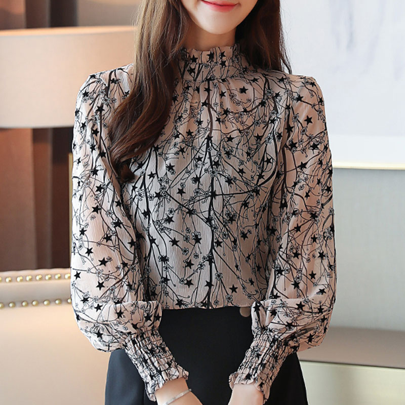 2021 Autumn Spring Women Chiffon Blouses Casual Stand Collar Floral Women Clothing Long Sleeve Printed shirt Women Tops 6197 50 2