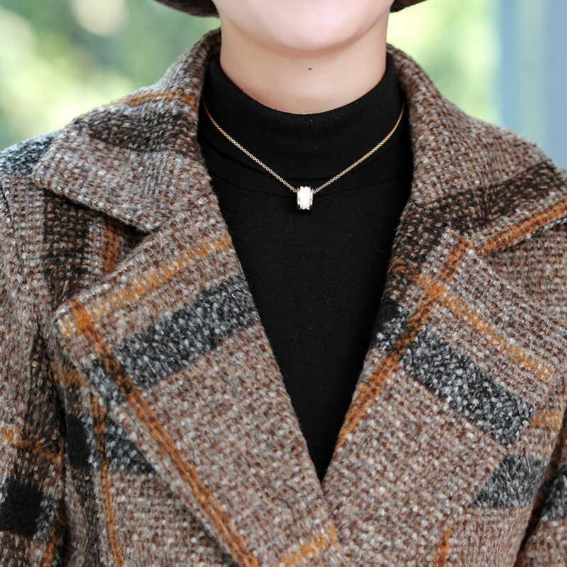 Зимние женские шерстяные пальто Тренч 2019 винтажные клетчатые женские куртки плюс размер XL ~ 5XL двубортные теплые толстые ветровки