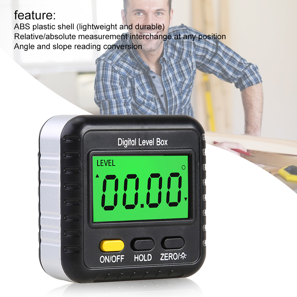 Цифровой транспортир с углом обзора 360 градусов, инклинометр, электронный датчик, измеритель, детектор угла, уровень в коробке, измерительны...