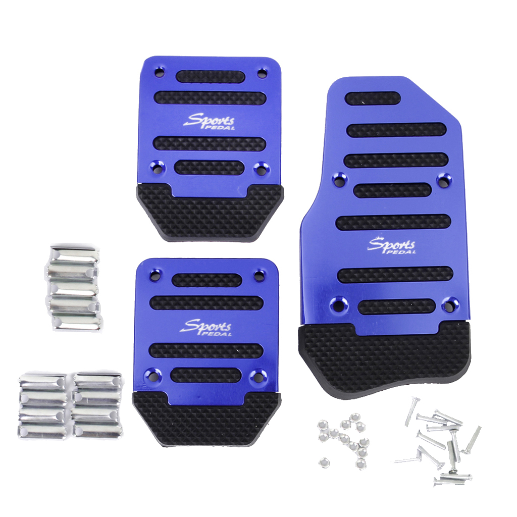 Blue-3Pcs Stainless Steel Automatic Car Pedal Covers Non Slip Manual Car Brake Clutch Accelerator Alloy