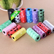 15Pcs/roll Degradable Pet Dog Waste Poop Bag With Printing Doggy Bag For Cat Dog Color Random New Sale(China)
