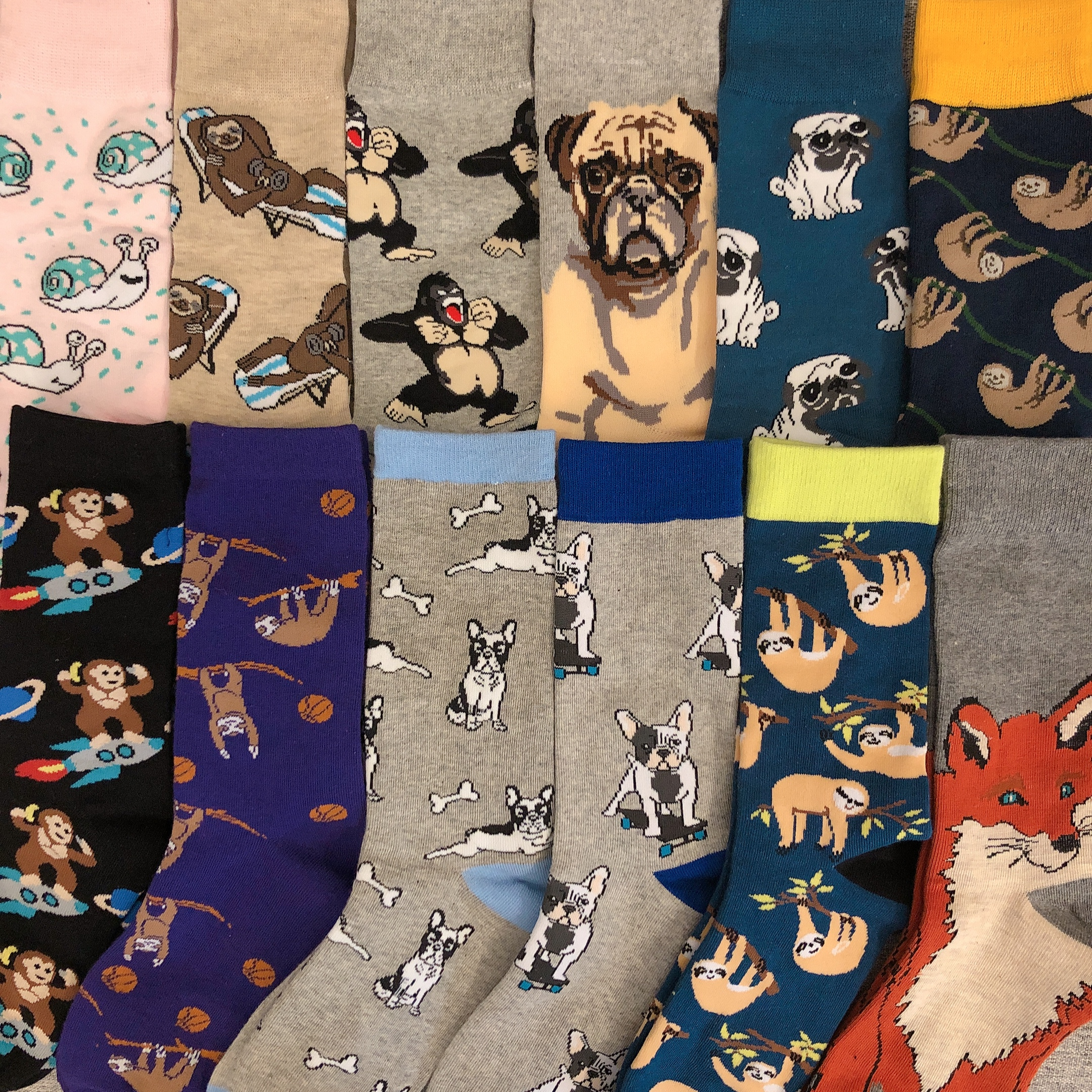 Freeshipping Crew Fashion Funny Socks Chimpanzee Pug Bull Bulldog Sloth Snail Boston Terrier Monkey Dog Puppy Animal Dropship