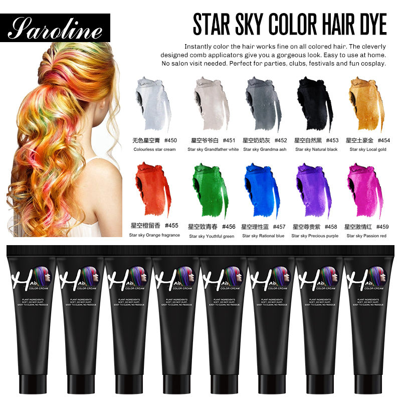 Permanent DIY Color Hair Dye Professional One Time Hair Color Waterproof Colorful Silver Grey Non-toxic Color Hair Wax Mud Cream