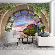 Custom Muur Doek Boog Balkon Bergtop Lake Landschap Photo Muurschilderingen Behang Woonkamer Tv Achtergrond Muur Home Decor Muurschildering(China)