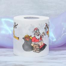 1 рулон горячей рождественской туалетной бумаги Санта-Клауса, домашний банный гигиенический рулон ткани для гостиной, рождественские принадлежности, товары для дома