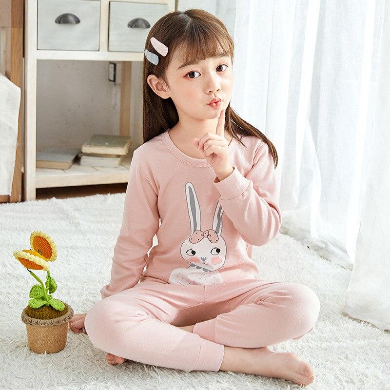 Kids Pajamas Sets Girls Rabbit Pattern Night Suit Children Cartoon Sleepwear Pyjamas Kids Cotton Nightwear 2-13Y Teens Clothes
