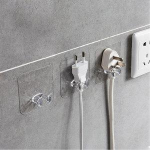 PVC Wall Storage Hooks Creative Power Plug Socket Holder Wall Adhesive Hanger Home Office Bathroom Hook Kitchen Supplies
