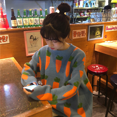 Winter Women Sweater Fashion Loose O-neck Harajuku Carrot Prints Pullovers Female Korean Chic Ins Knitted Jumpers Crocheted Tops