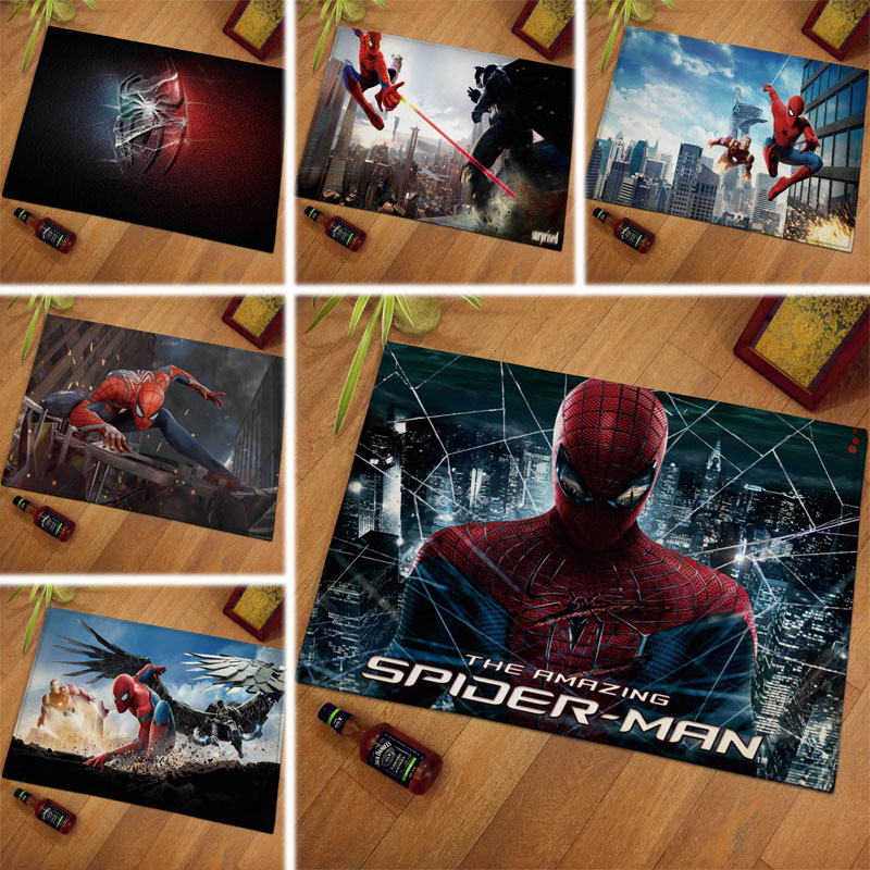 1pcs 40x60cm European And American Marvel Movie Carpet Spiderman Cotton Christmas Gift For Kids Drop Shipping