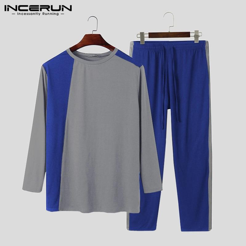Men Pajamas Sets Patchwork Fitness Long Sleeve O Neck Sleepwear Pants Leisure 2021 Cozy Mens Nightwear Sets Homewear 5XL INCERUN