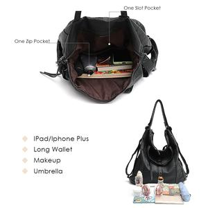 Image 3 - CEZIRA sıcak satış PU yıkanmış deri kadın büyük omuzdan askili çanta bayanlar yumuşak Vegan deri sırt çantaları kadın fonksiyonlu okul sırt çantası