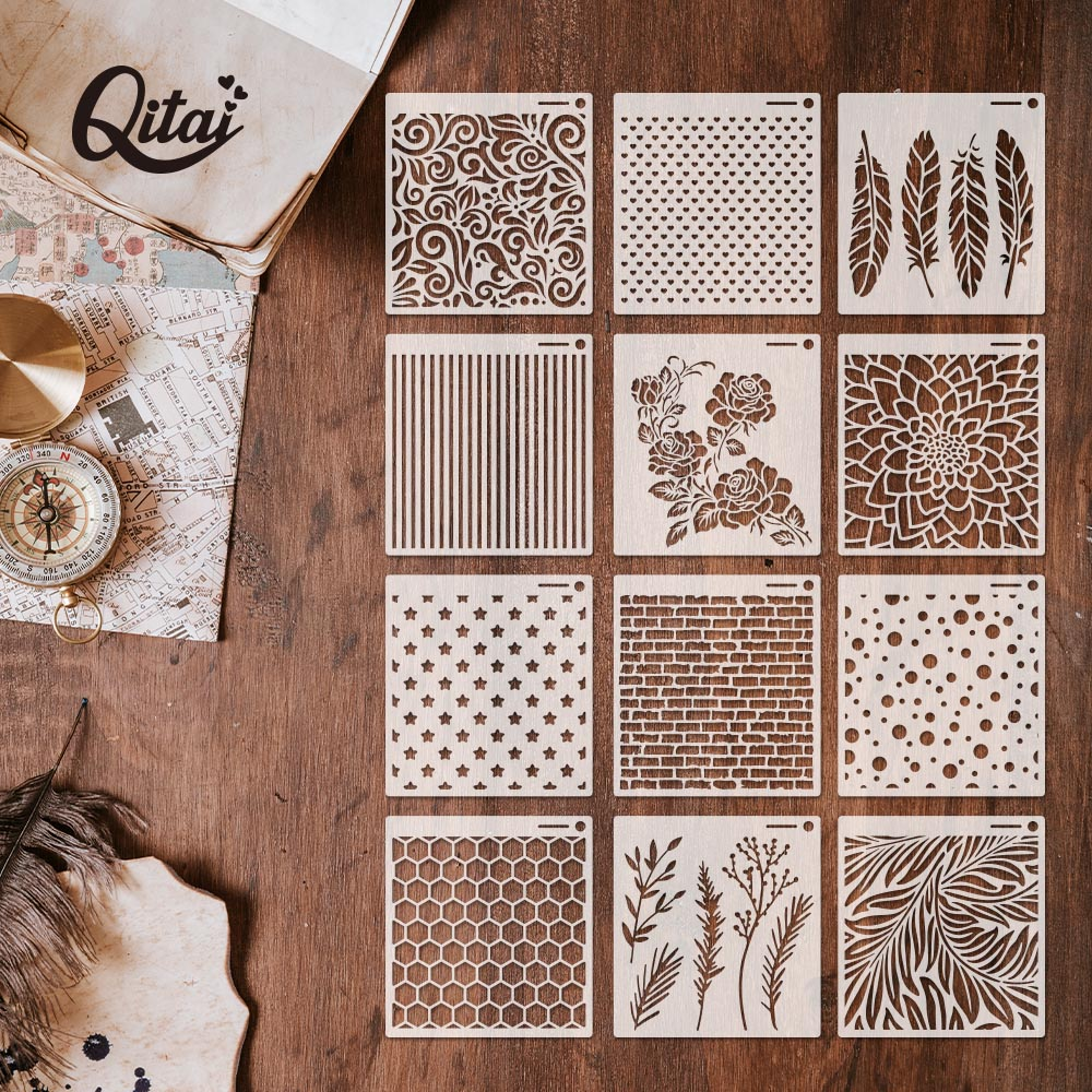 QITAI 12pcs Craft DIY Scrapbooking Layering Stencils For Walls Painting Stamp Album Decor Embossing Paper Card Template ST01