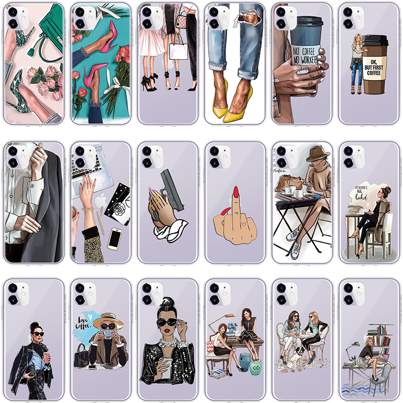 High Heels Girl Boss Black Brown Hair Case For IPhone 11 Pro Max XR XS Max XS X 6S 5 SE 7 Plus 8 Case TPU For IPhone 11 Pro Case