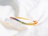Zhanhao New Arrival 8.85ct 17CM 9K Lab Created Rainbow Sapphire Bracelet Christmas Gift For Women And Men 2