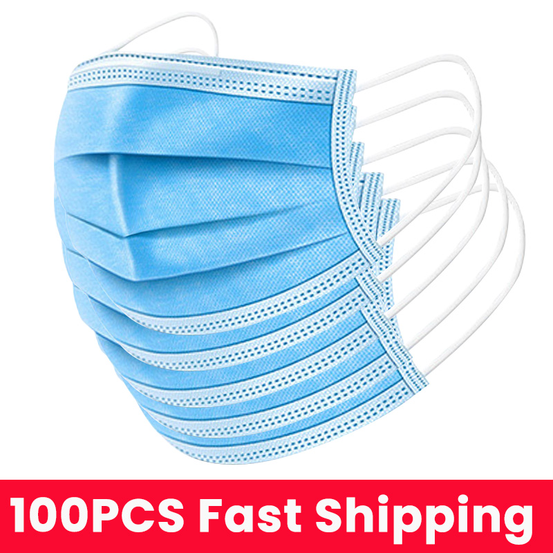 100pcs Mask Disposable Face Mouse Masks 3 Layers Anti Dust For Mouse Dustproof Safety Earloop Non Woven Mouth Mask