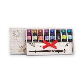 Ξύλινο Σετ Καλλιγραφίας Πένες Στυλό με Μελάνια Σχολικό Δώρο Γραφής