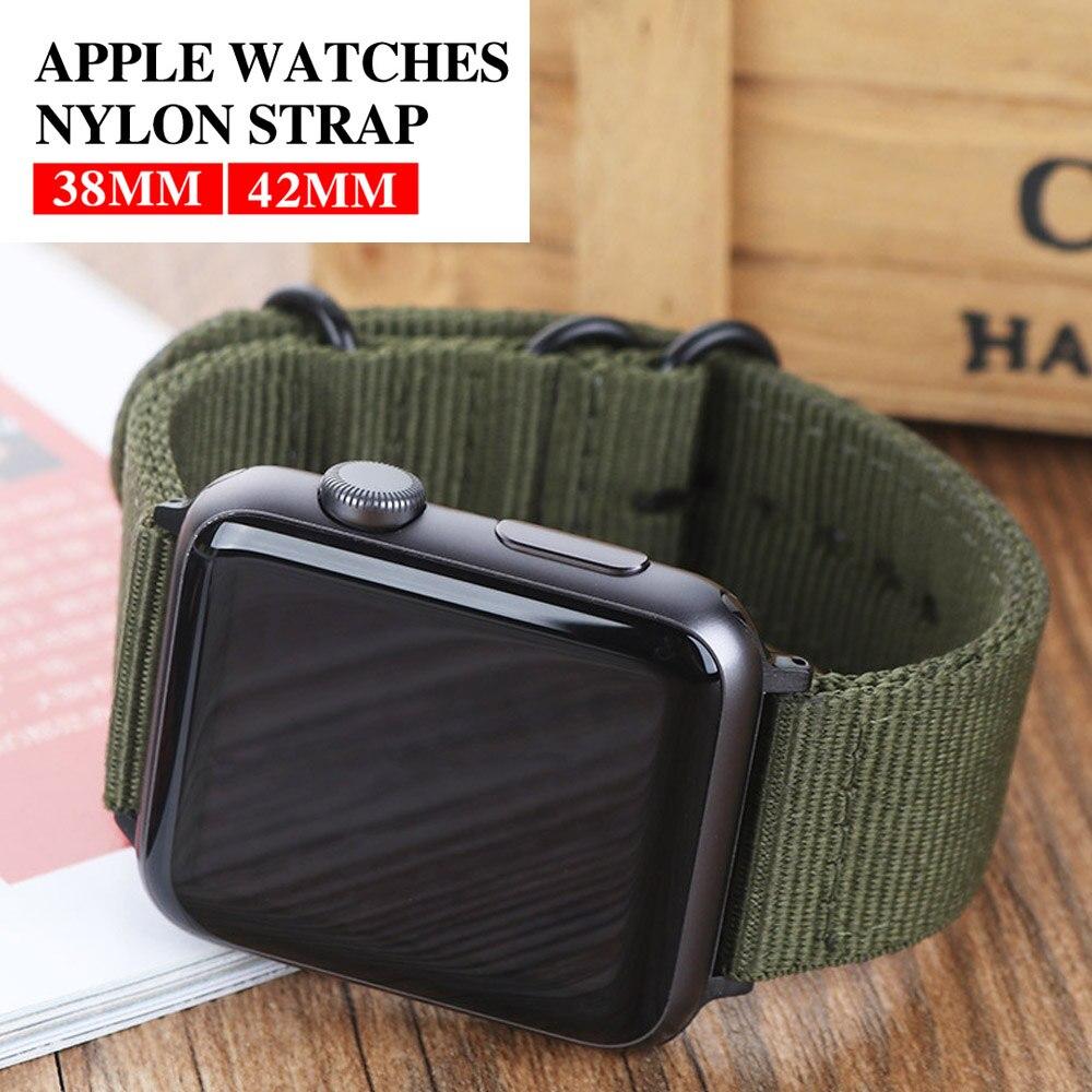 Лидер продаж, нейлоновый ремешок для наручных часов Apple Watch, версии 5/4/3/2/1, спортивный кожаный браслет, 42 мм, 44 мм, 38 мм, 40 мм, ремешок для