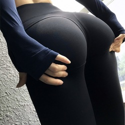 Super Sexy Sports Leggings High Waist Women Long Yoga Pants Fitness Gym Tights Push Up Solid Running Trousers Butt Tummy Control