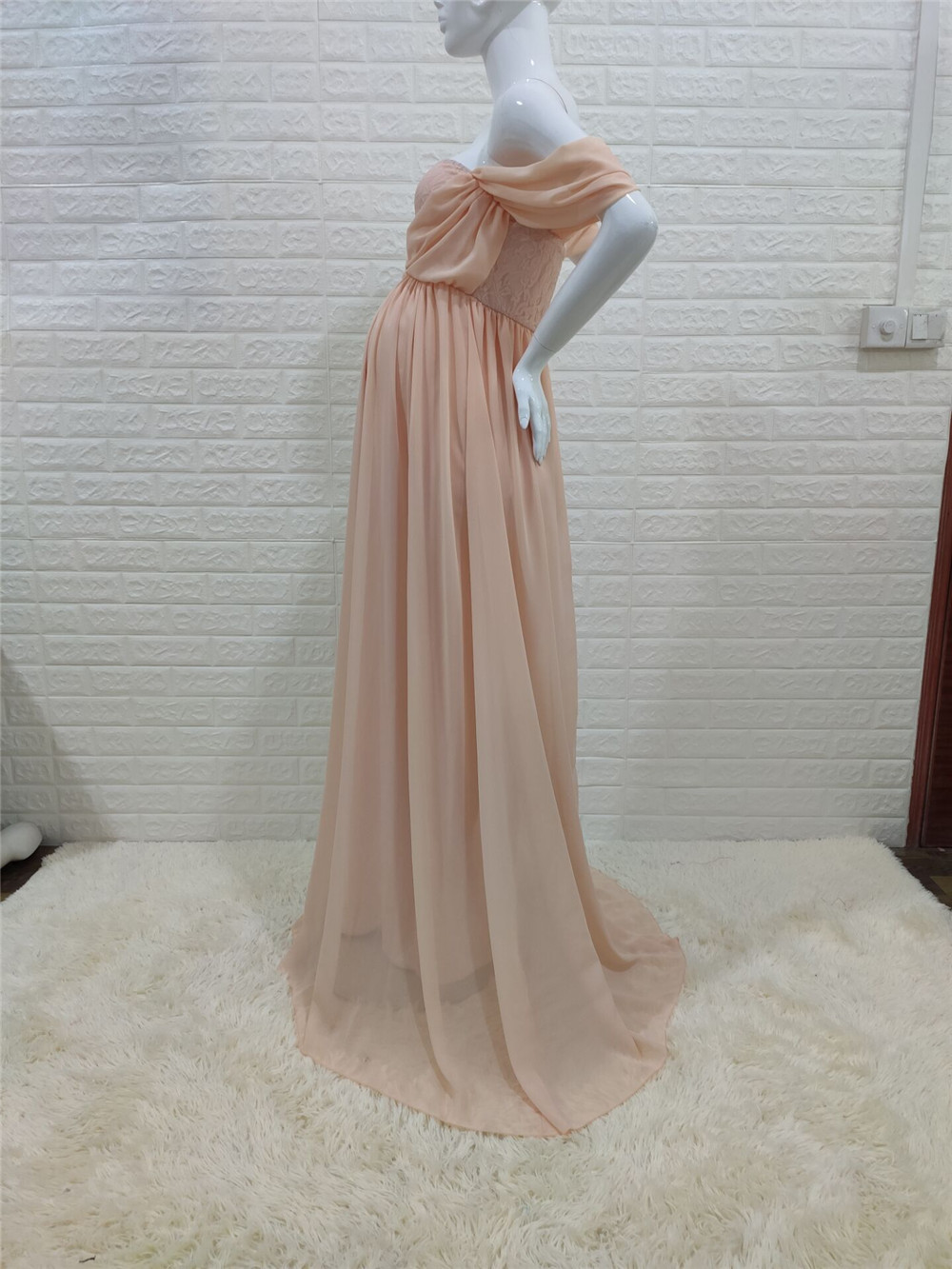 Shoulderless Sexy Maternity Dress Photo Shoot Long Pregnancy Dresses Photography Props Lace Chiffon Maxi Gown For Pregnant Women (24)