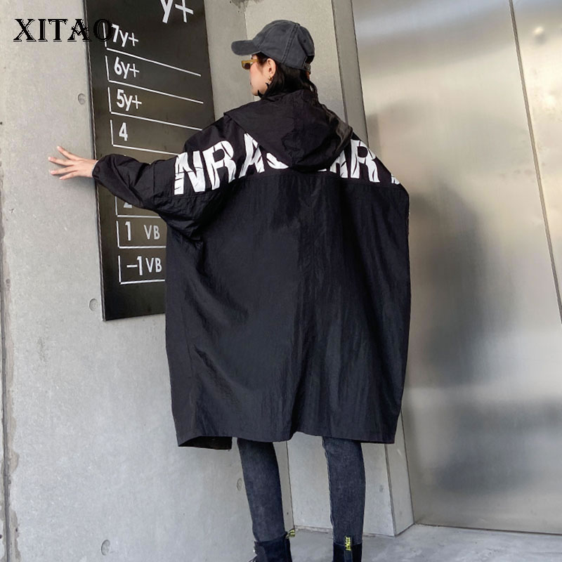 XITAO Letter Pattern Trench Coat Trend Women Clothes 2020 New Vintage Spring Autumn Wild Hooded Windbreaker Streetwear DMY3155