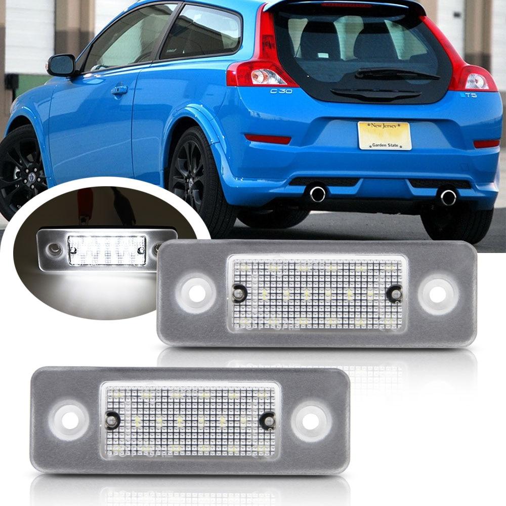 O número da placa de licença do diodo emissor de luz de 2 pces ilumina o erro da lâmpada livre para o oem branco da lâmpada do carro do diodo emissor de luz de volvo c30 2008-2013 #:31213991