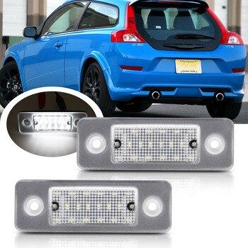 цена на 2pcs LED License Plate Number Lights Lamp Error Free For Volvo C30 2008-2013 White LED Car Lamp