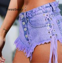 Hight waisted Mini Jeans Shorts Women Both Side Tie Mini Short Sexy Denim Shorts Jeans girls self tie dual pocket denim shorts