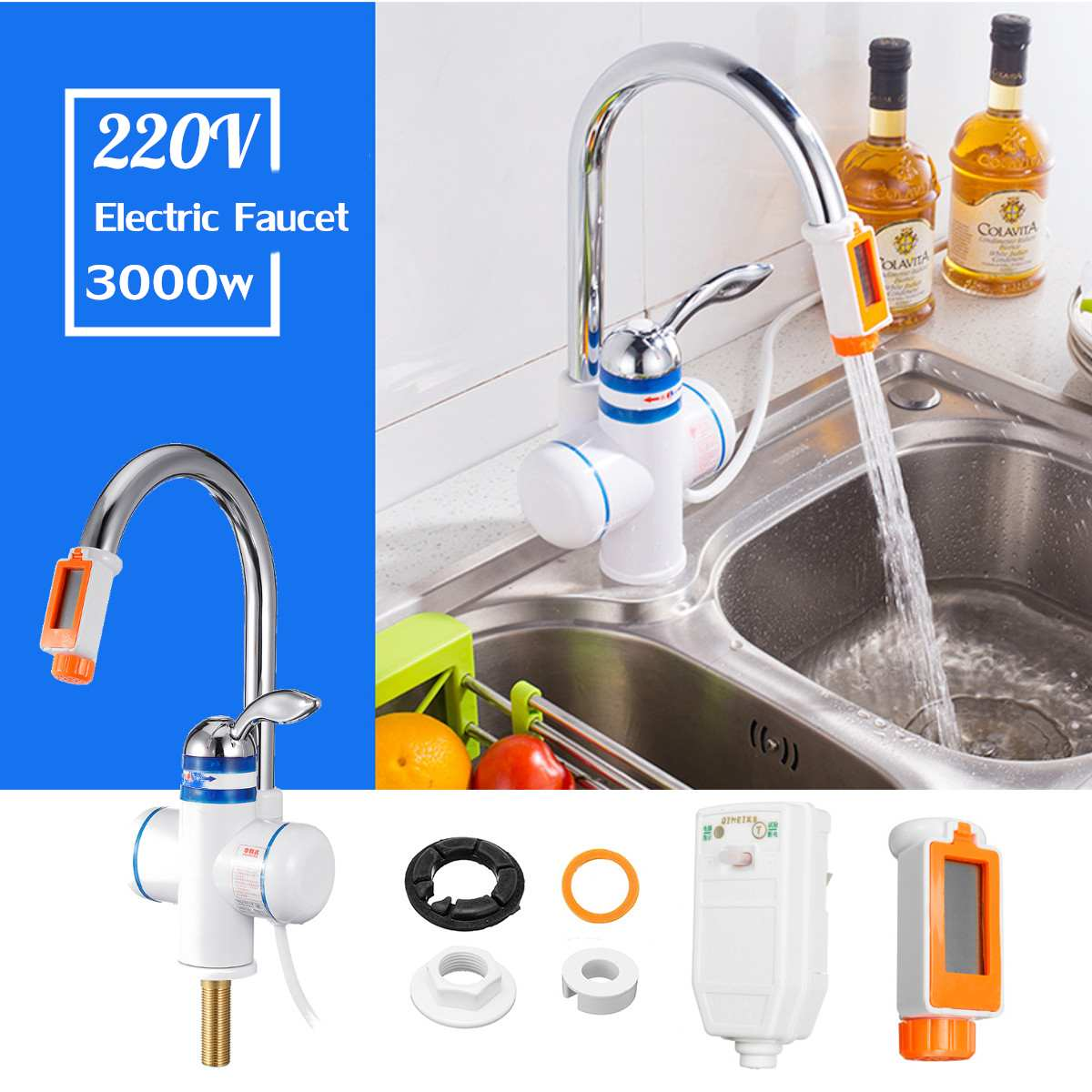 Temperature Display Water Heater Kitchen Instant Heating Tap Electric Water Heaters Electric Faucet