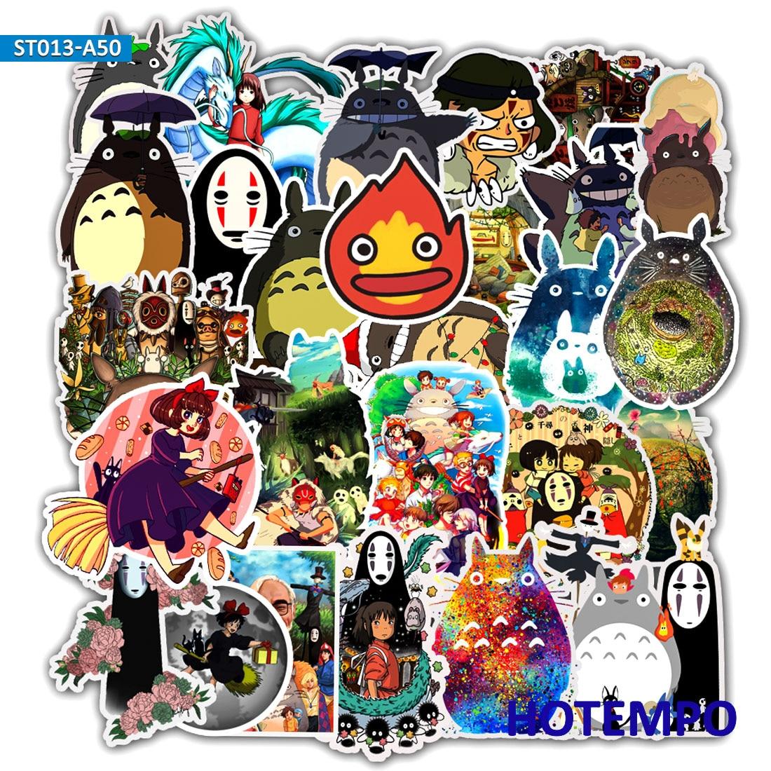 50pcs Anime Manga Miyazaki Hayao Cartoon Stickers For Mobile Phone Laptop Luggage Suitcase Guitar Skateboard Decal Stickers