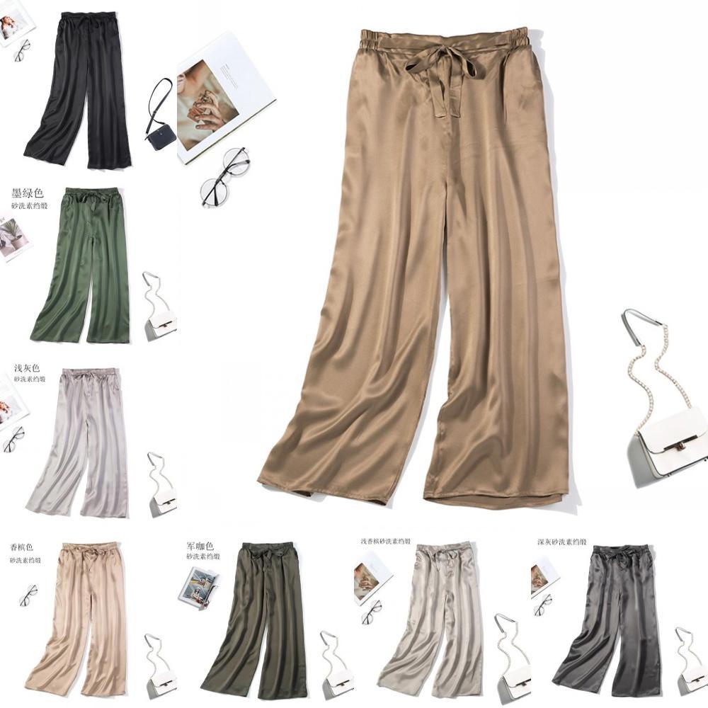 Women's 100% Pure Silk Loose Long Pants Trousers One Size Black Navy JN011