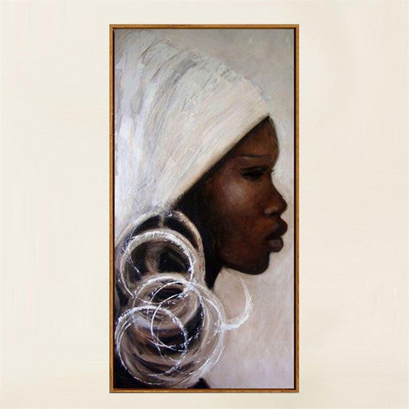 Peint à la main portrait africain peintures à l'huile noir blanc afrique femme visage peintures sur toile art mur photo décor à la maison
