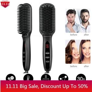 Brush Hair Straightener Heating Comb Straightener Electric Hair Smoothing Brush Hair Straightening Iron Ceramic Comb for Beard