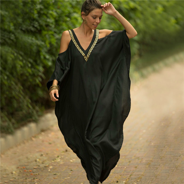 2020 Sexy Cold Shoulder V Neck Bats Sleeve Loose Summer Beach Dress Plus Size Women Beachwear Kaftan Black Cotton Dress Q943